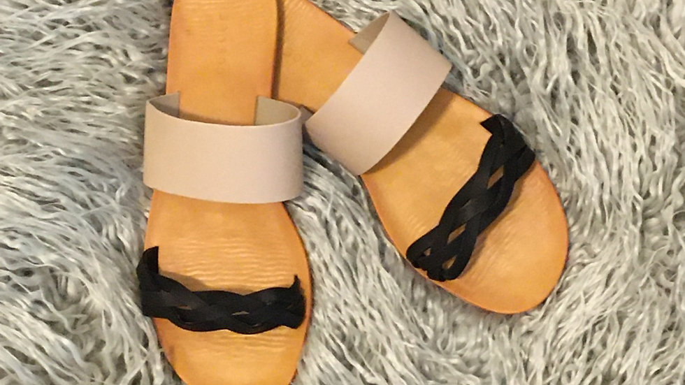Taupe and black rope sandals