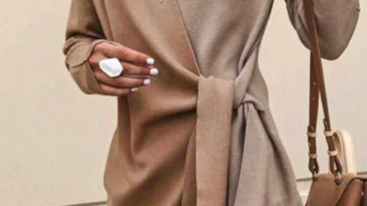 Tan and taupe mock wrap sweater