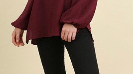 Wine cold shoulder top