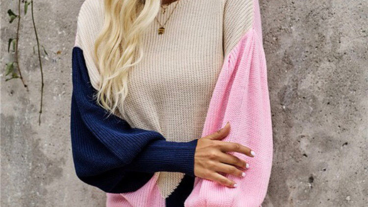 Navy and pink sweater