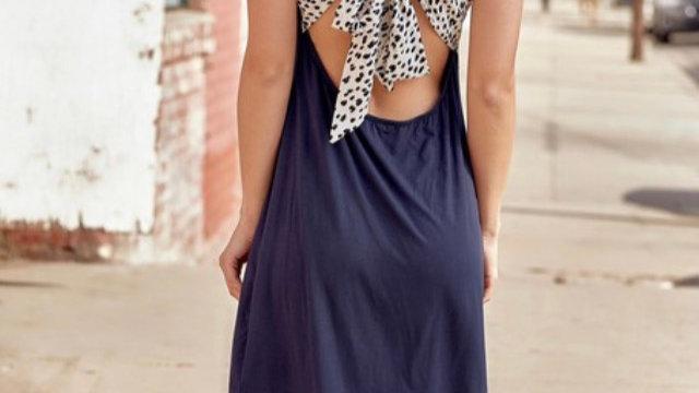 Black leopard back dress