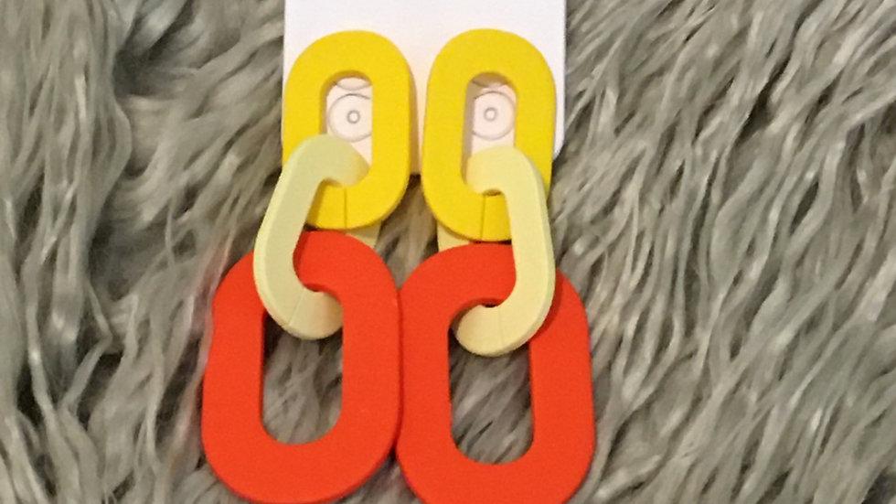 Yellow link acrylic earrings