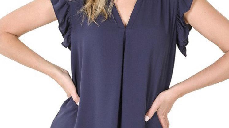 Navy ruffle sleeve top