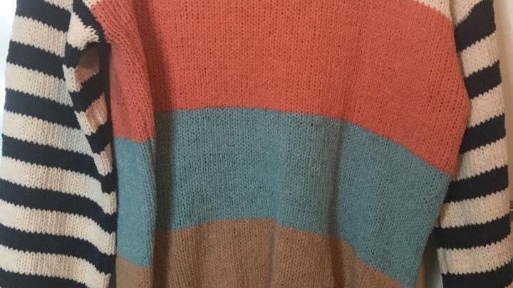 Navy striped sleeve sweater