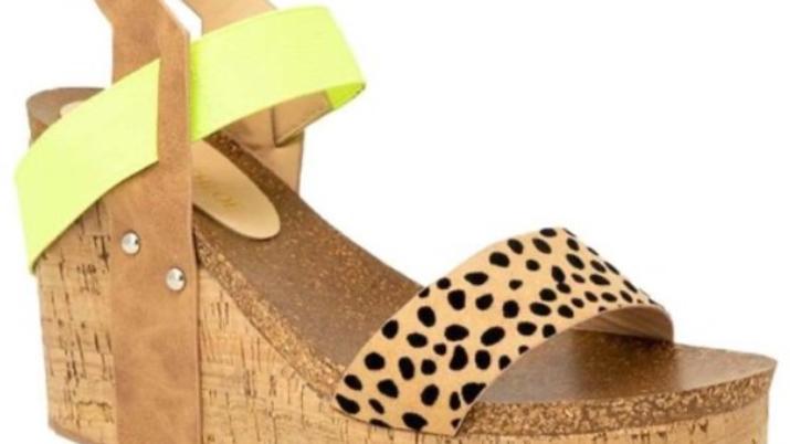 Neon leopard wedge