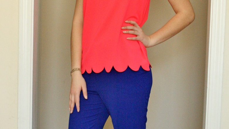 Hot pink scalloped top