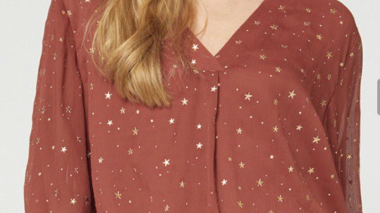 Gold star bell sleeve top