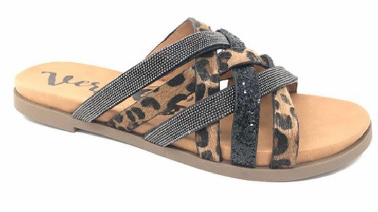 Leopard mix sandal