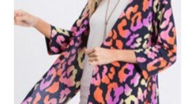Colorful leopard kimono