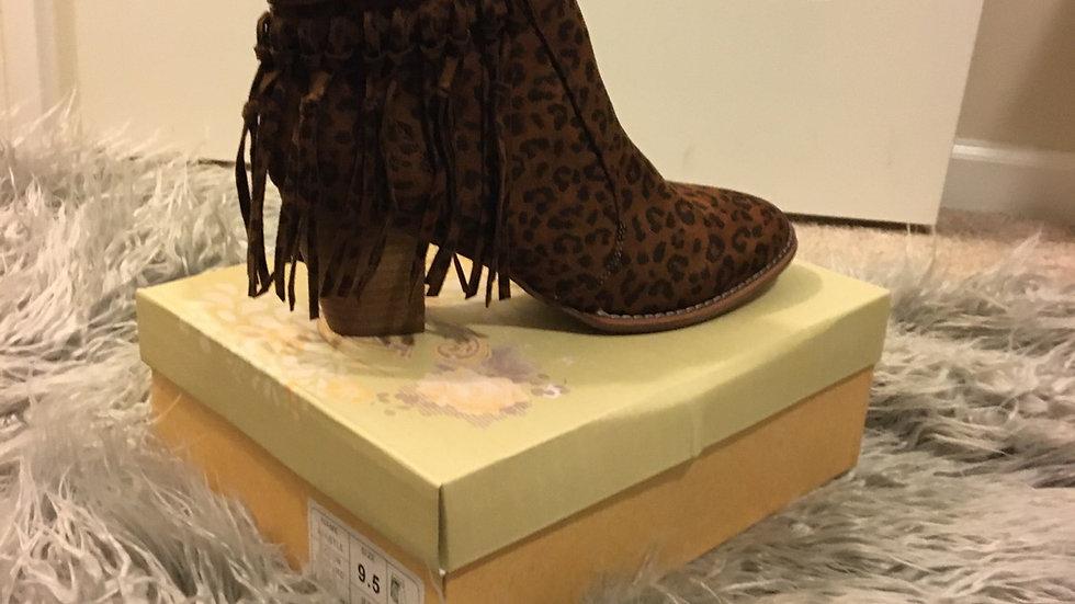 Tassel Leopard Booties