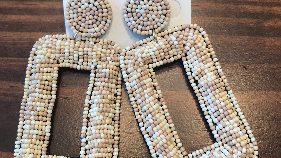 Taupe beaded rectangles