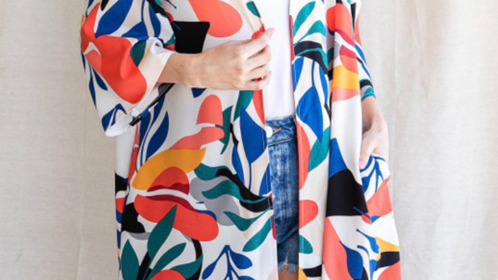 Vibrant tropical kimono