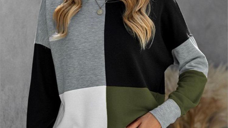 Olive color block sweatshirt
