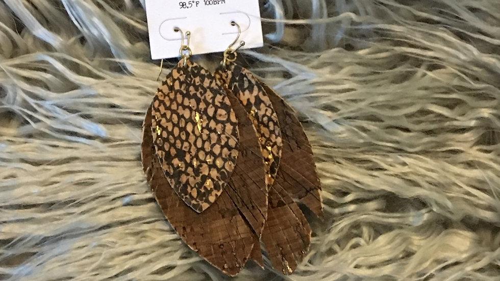 Brown snake earrings