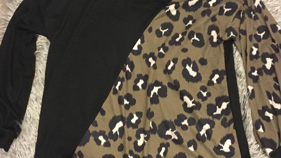 Open shoulder leopard/mocha top