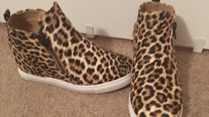 Cheetah hidden wedge sneaker