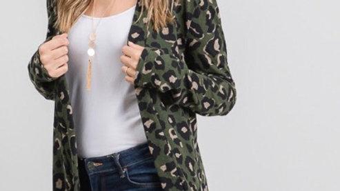 Olive leopard cardigan