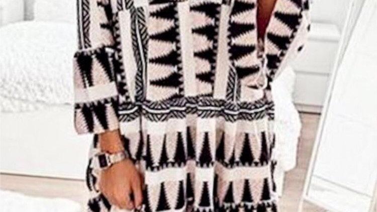 Black Aztec designed dress