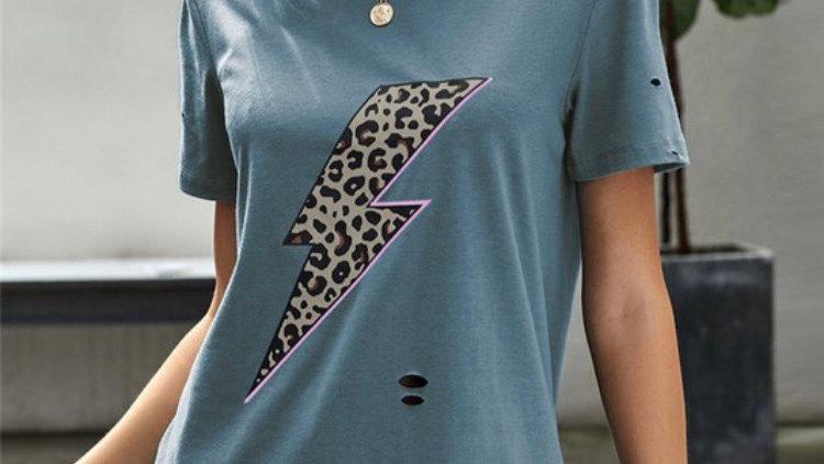 Distressed lightening bolt T-shirt