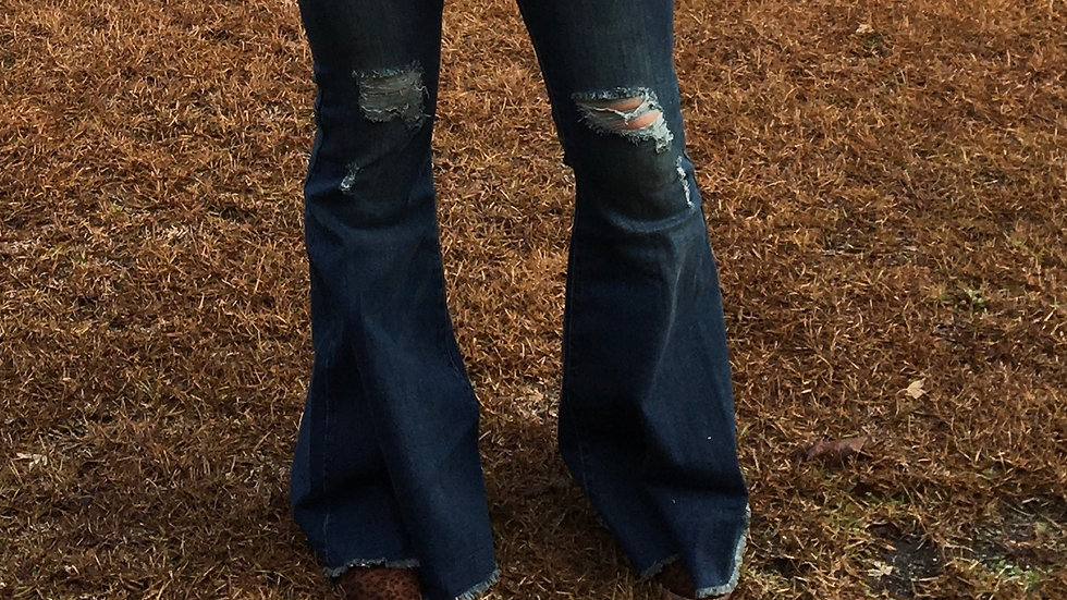 High waisted distressed bells