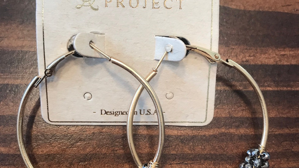 Gold hoops with pewter stones