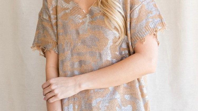 Metallic knit sweater