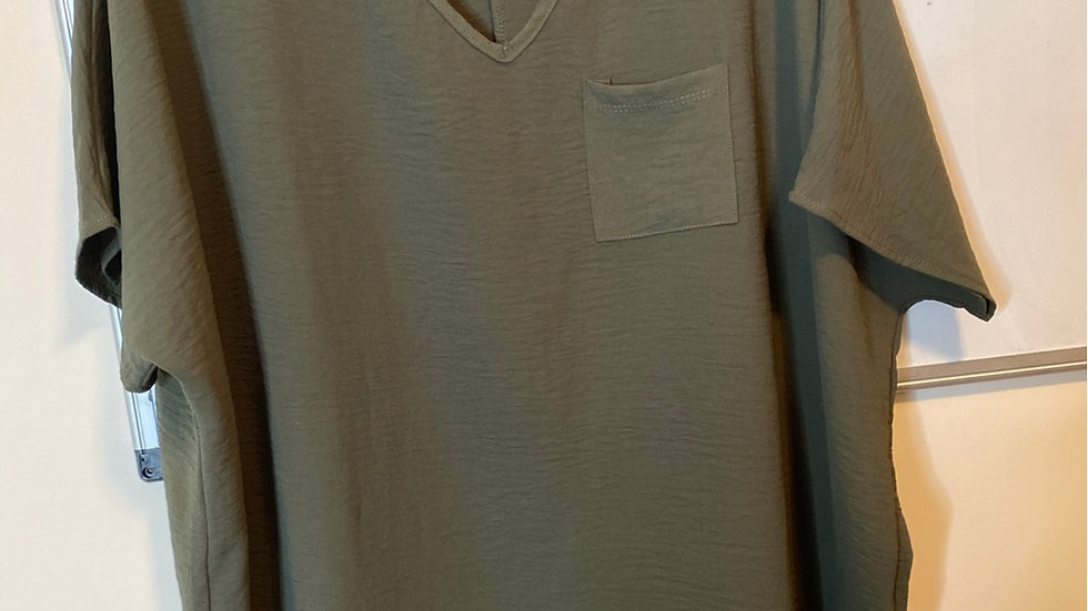 Olive top with pocket