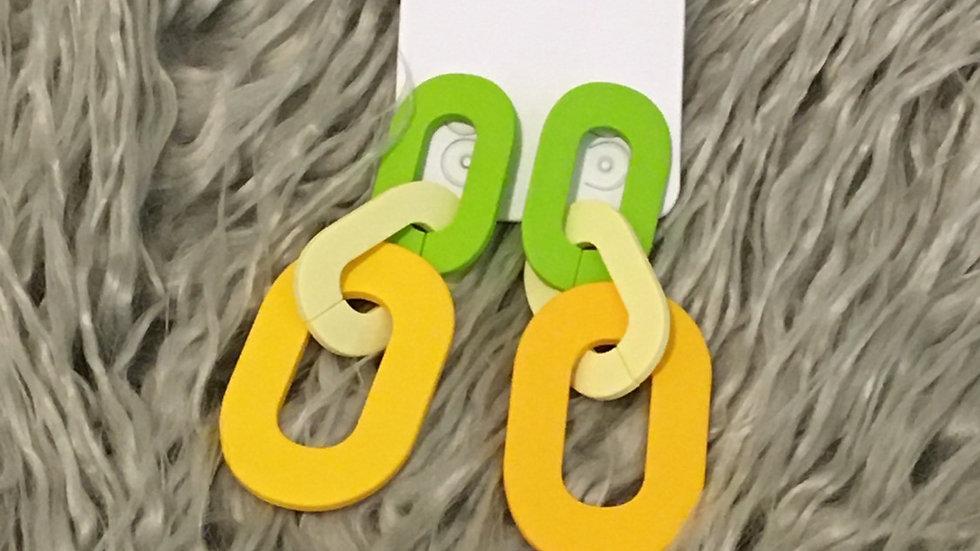 Green link acrylic earring