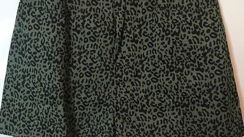 Dark olive & black leopard shorts