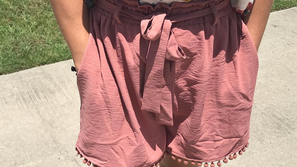 Mauve pom shorts