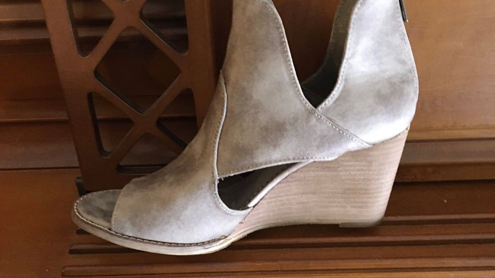 Taupe Leather Wedge