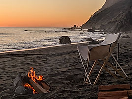 California Sunset with beach campfire