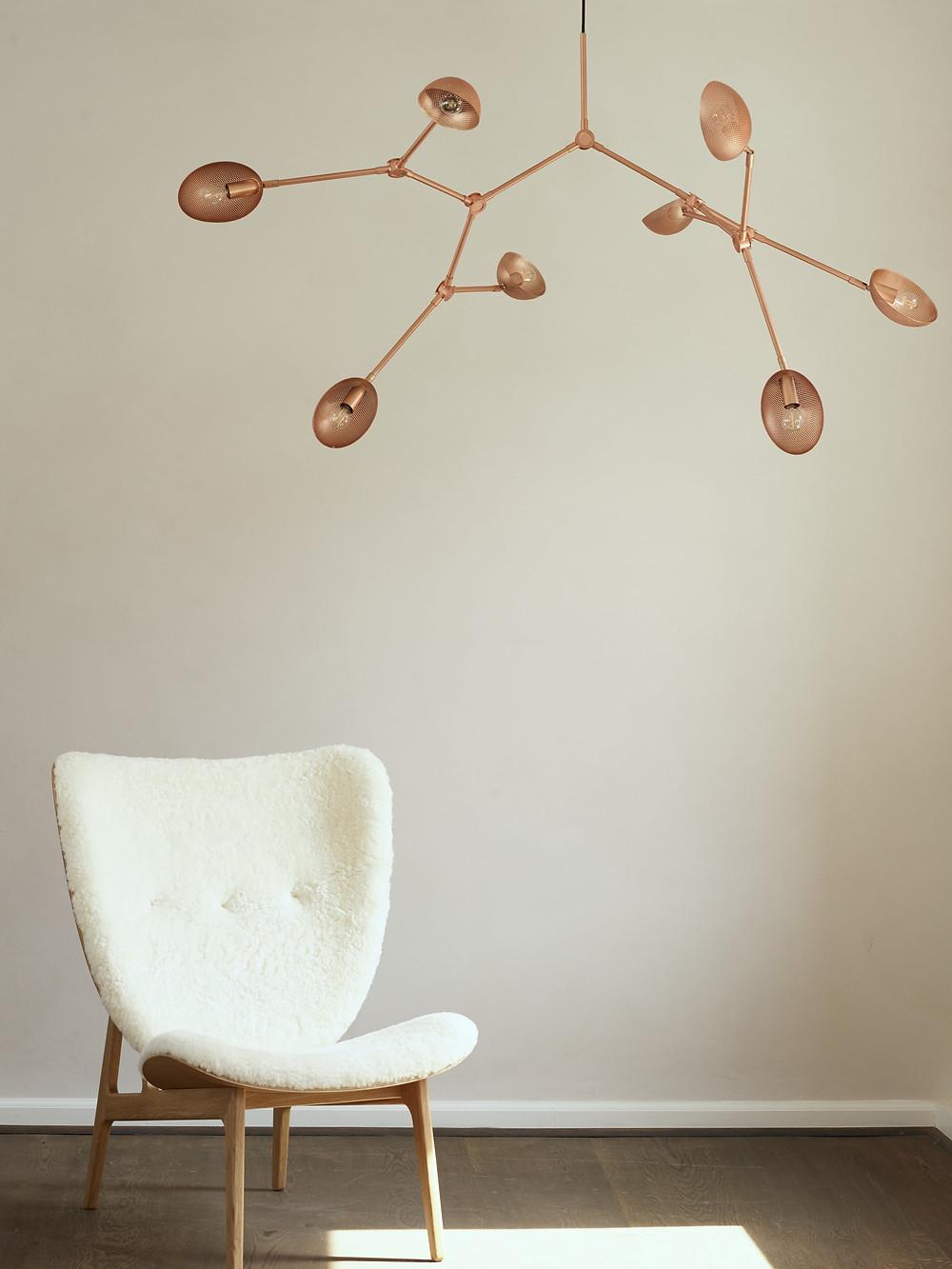 DROP chandelier in brass