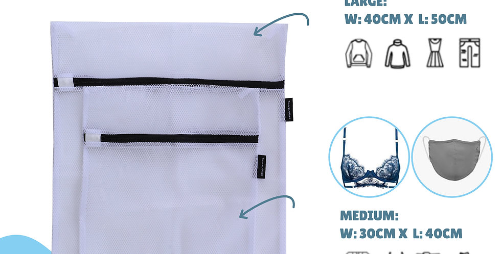Laundry Bags / Wash Bags - White: Large and Medium: Stops Tangling & Stretching