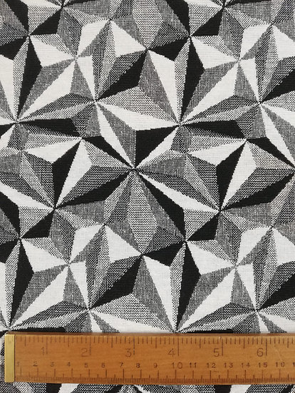 Tapestry Weight Cotton Fabric In A Black And White Harlequin Print
