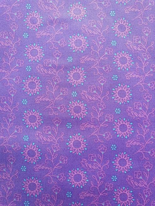 Purple Flowers On Cotton Fabric