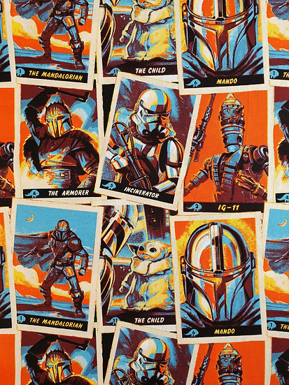 Mandalorian Trading Cards Printed On To Cotton Fabric