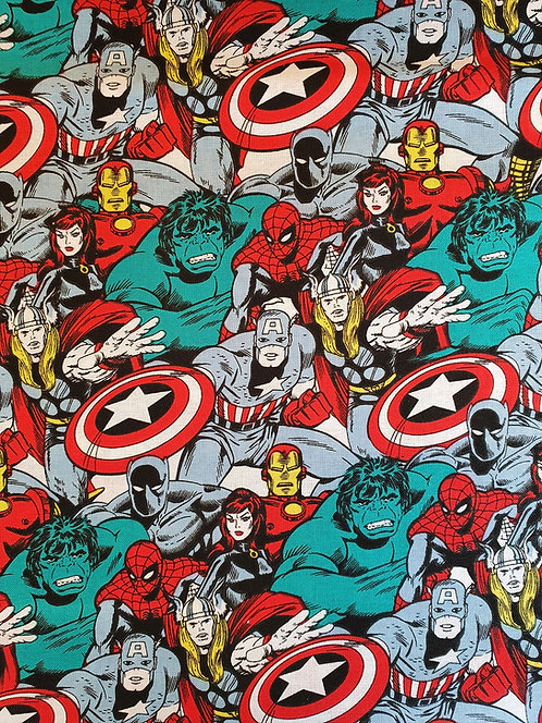 Marvel Characters Printed On To Cotton Fabric