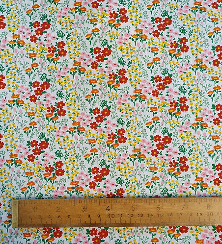 Polycotton Fabric With A Bright Vintage Floral Print