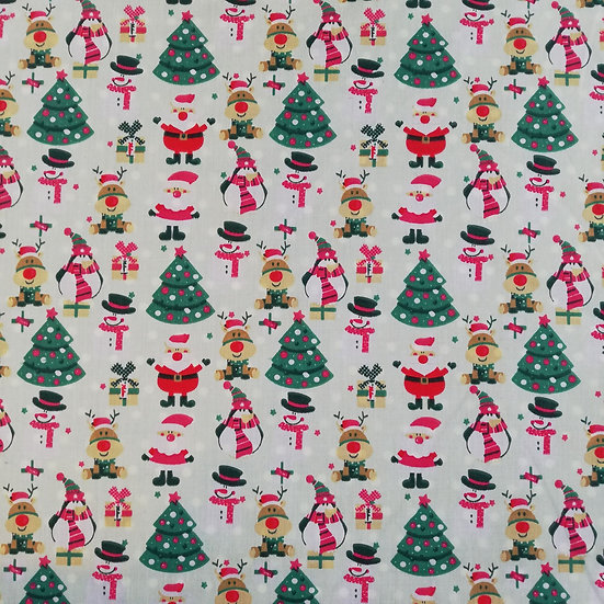 Christmas Characters Printed On To A Mint Polycotton fabric