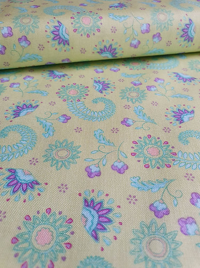 Purple Blooms On Green Cotton Fabric