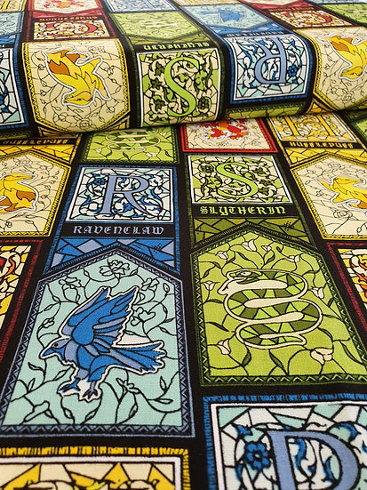 Harry Potter House Stained Glass Windows Printed Onto Cotton