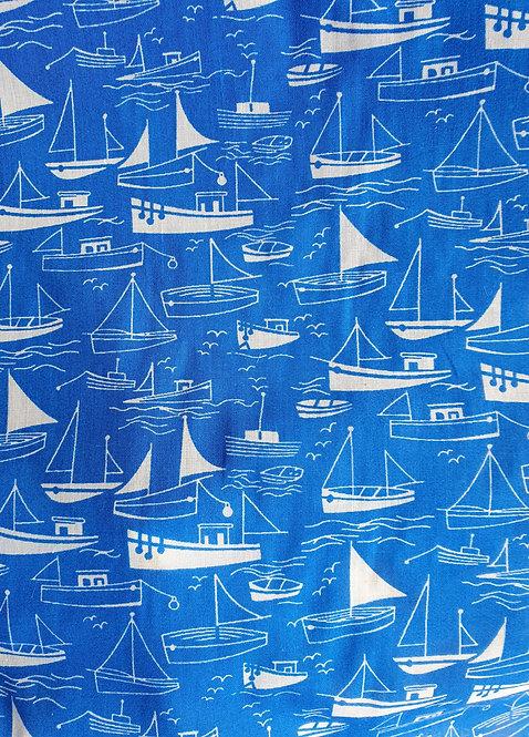 Polycotton Blue yacht Print Fabric