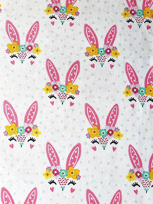 Bunny Face Print On Cotton Fabric From The Easter Friends Collection