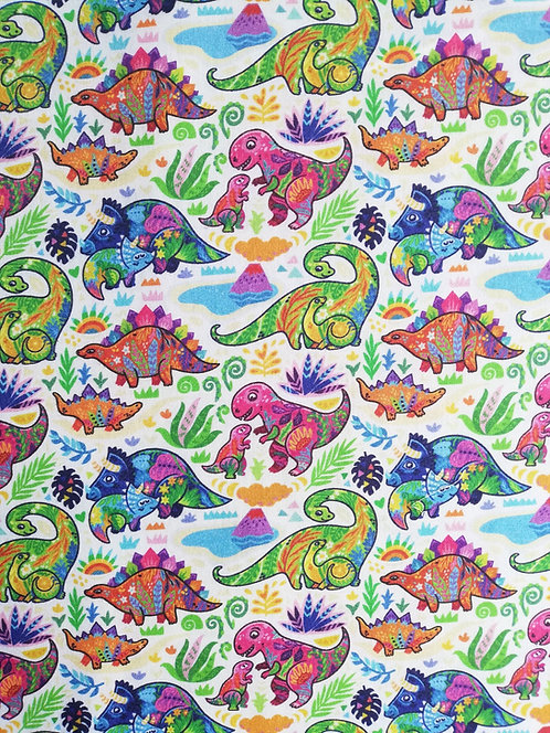 Patterned Dinosaurs Printed Onto Cotton Fabric