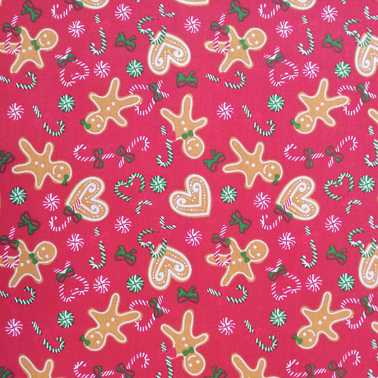 GINGERBREAD MAN  -  RED - POLYCOTTON - FQ