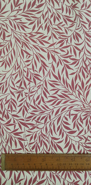 Red Leaves Printed Onto A Dark Cream Background Of Cotton Mix