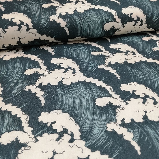 Crashing Waves Printed Onto Cotton fabric