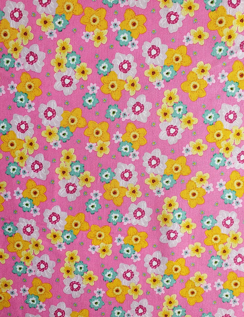Daffodil Print On Cotton Fabric From The Easter Friends Collection