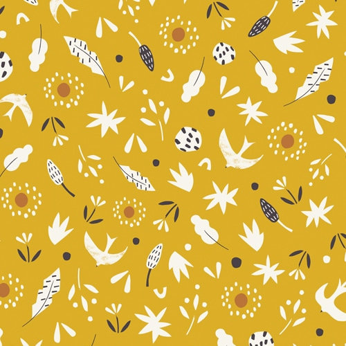 Mustard Cotton Fabric With Leaves And Birds